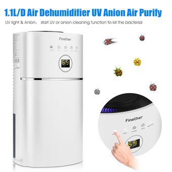 Deshumidificador Inteligente Finether DS01A 2.4L Mini 1.1L/D Digital UV Anion 65W, Blanco