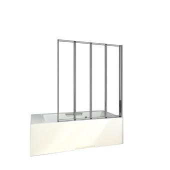 Mamparas de Bañera Biombo Plegable Cristal 4mm Cromado - 4 cristale plegable 100x140cm