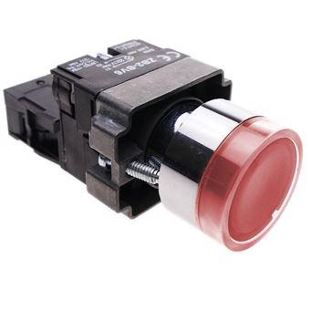 Pulsador moment/áneo 22mm 1NC 400V 10A Normal Cerrado Rojo BeMatik