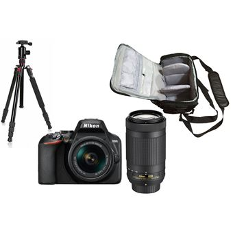 Nikon D3500 + AF-P DX 18-55mm f/3.5-5.6G VR + AF-P DX 70-300mm f/4.5-6.3G ED VR + KamKorda Bolso + Trípode