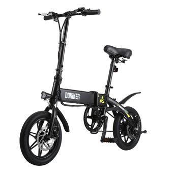 Bicicleta Eléctrica Plegable Dohiker Con Faro LED, Negro