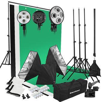 Kit de iluminación para estudio fotográfico Excelvan Background  / Softbox / Light Stand / Lámpara de 45W / Bolsa portátil