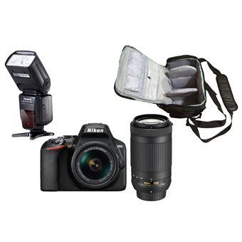 Nikon D3500 + AF-P DX 18-55mm f/3.5-5.6G VR + AF-P DX 70-300mm f/4.5-6.3G ED VR + KamKorda Bolso + Speedlite Flash