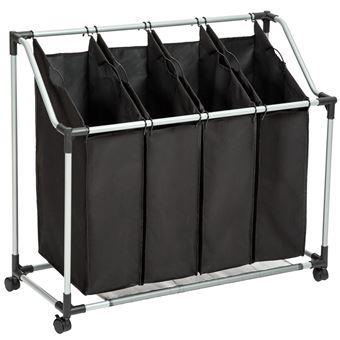 Cesto para la colada con 4 compartimentos, Negro