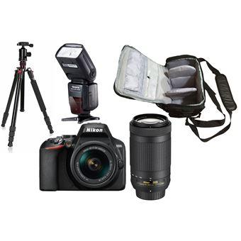 Nikon D3500 + AF-P DX 18-55mm f/3.5-5.6G VR + AF-P DX 70-300mm f/4.5-6.3G ED VR + KamKorda Bolso + Trípode + Speedlite Flash
