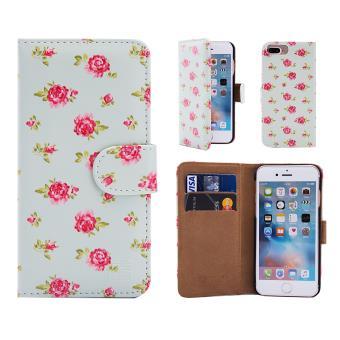 17da223121d 32nd® Diseño floral Funda Cartera de cuero para Apple iPhone 7 Plus, Funda  Carcasa de Diseño de flores con ranuras para tarjetas - Vintage Rose Mint  ...