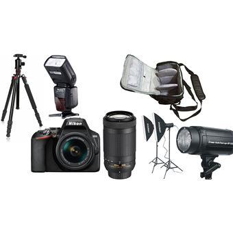 Nikon D3500 + AF-P DX 18-55mm f/3.5-5.6G VR + AF-P DX 70-300mm f/4.5-6.3G ED VR + KamKorda Bolso + Trípode + Speedlite Flash + Kit de iluminación de estudio