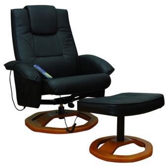 Sillón de masaje eléctrico con reposapiés, color negro