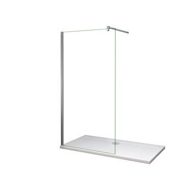 Mamparas de ducha Frontales Puerta fijo Cristal 6mm Antical Barra 140cm 85x185cm
