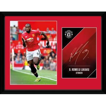 Fotografía enmarcada Manchester United Lukaku 17/18 30x40 cm