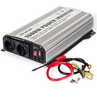 Transformador de corriente Sinus 12 V a 230 V 1500W 3000W, Gris