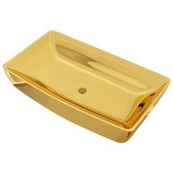 Lavabo vidaXL 71x38x13,5 cm cerámica dorado