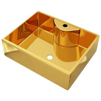 Lavabo vidaXL con orificio para grifo 48x37x13,5 cm cerámica