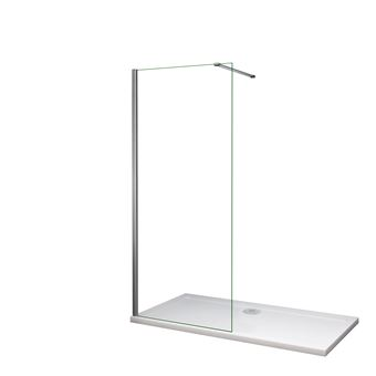Mamparas de Ducha Frontales Puerta Fijo WALK IN Antical 8mm Cristal Barra 90cm 90x200cm