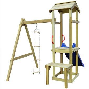 Parque infantil con tobogán vidaXL, y escalera de madera FSC