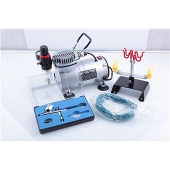 Aerógrafo compresor Airbrush as18-2, 0-4 bars con pistola ab-130, manguera de conexión y soporte de pistola