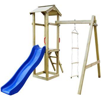 Parque infantil con tobogán vidaXL, y escaleras de madera FSC