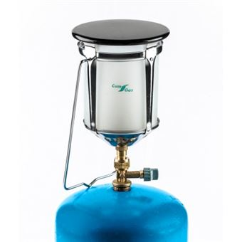 Lámpara de camping adaptable a botella azul de camping.