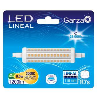 Bombilla lineal LED con casquillo R7S de 118mm,  9,5W 1200 lumenes, 360°, luz cálida
