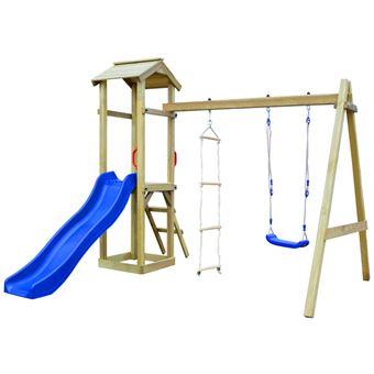Parque infantil con tobogán vidaXL, escaleras y columpio de madera FSC