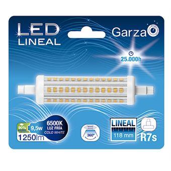 Bombilla lineal LED con casquillo R7S de 118mm,  9,5W 1200 lumenes, 360°, luz fría