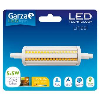 Bombilla lineal LED con casquillo R7S de 78mm,  5W 600 lumenes, 360°, luz cálida
