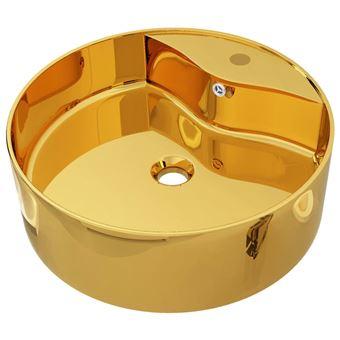Lavabo vidaXL con rebosadero 46,5x15,5 cm cerámica dorado