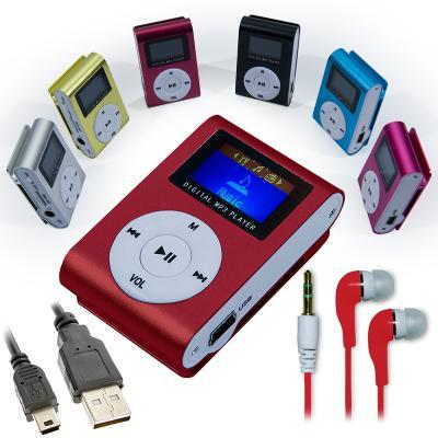 Mini reproductor MP3 Rojo con FM + Auriculares + Cable Mini USB