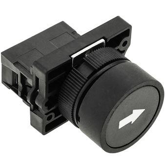 Pulsador momentáneo BeMatik 22mm 1NO 400V 10A normal abierto flecha negra