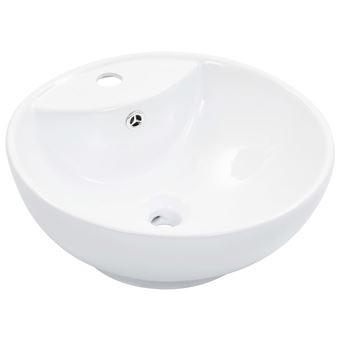 Lavabo vidaXL con rebosadero 46,5x18 cm cerámica Blanco