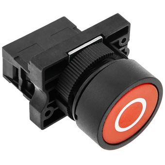 Pulsador momentáneo BeMatik 22mm 1NO 400V 10A normal abierto rojo apagar
