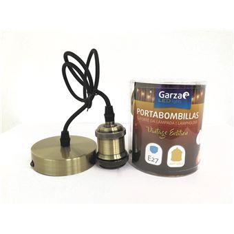 Portabombillas Cable pendant Vintage Light Gold, cable textil, casquillo E27 cable textil 1metro