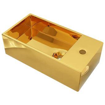 Lavabo vidaXL con rebosadero 49x25x15 cm cerámica dorado