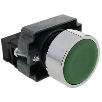 Pulsador momentáneo BeMatik 22mm 1NO 400V 10A normal abierto verde