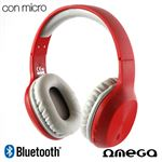Auriculares Stereo Bluetooth Cascos Stereo Omega Wireless Rojo