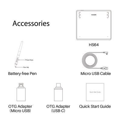 Tableta Gráfica Huion HS64 8192 Niveles Presión sin batería Pen Tablet 6 ''  con Cuatro Teclas de presión Compatible con OS Android 6 0, Windows y