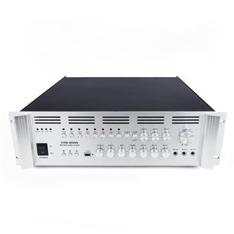 Amplificador para sonorización profesional BeMatik de 800W 110V 8 zonas con MIC AUX MP3 rack