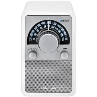 Radio Analógica de madera Sangean WR-15 BT Glossy White