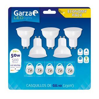 Bombilla LED GU10 7W 110º, 500lm, Luz neutra pack 5 bombillas + 5 casquillos