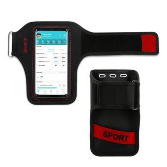 Funda móvil para correr 5 Pulgadas Impermeable y Táctil Baseus, Negro/Rojo