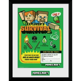 Fotografía enmarcada Minecraft Kit de supervivencia 30x40 cm