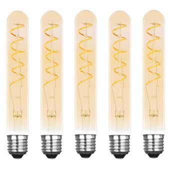 XQ-LITE Juego de 5 bombillas de filamento LED E27 Tubo de 2.5 W, equivalente a 15 W XQ1710