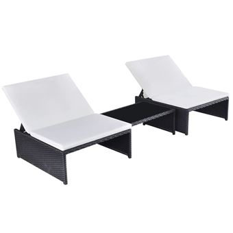 Conjunto de salón jardín 2 asientos, poli ratán Negro