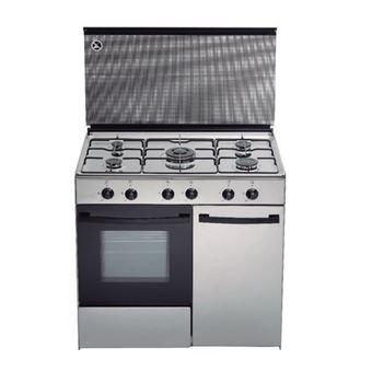 Cocina de gas butano/natural Haltra P5-FX, 5 quemadores, Horno, acabado Inox
