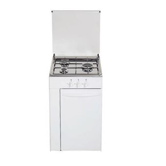 Cocina de gas butano/natural Haltra P3-FB, 3 quemadores, acabado Blanco