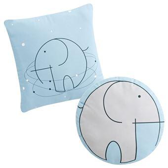 Set de 2 cojines decorativos Pekebaby Bluephant gris algodón