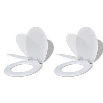 Asientos de inodoro vidaXL con tapas de cierre suave uds MDF Blanco