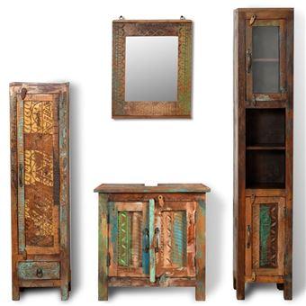 Mueble de baño vidaXL, madera reciclada con espejo y dos armarios laterales