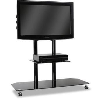 Soporte de pie tv cristal aluminio con ruedas negro mueble soporte tv los mejores precios - Soporte con ruedas para tv ...
