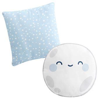 Set de 2 cojines decorativos Pekebaby Good Night Azul algodón